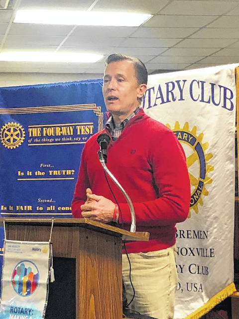 Olympic athlete John-Michaeal Lander spoke to the New Bremen-New Knoxville Rotary Tuesday morning about his personal experiences with sexual abuse in the sports world.