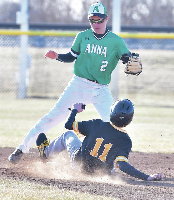 Botkins' Parker Geis, bottom, slides into second base as Anna's Kyle Evans tries to make a play during a Shelby County Athletic League game on Monday in Anna.