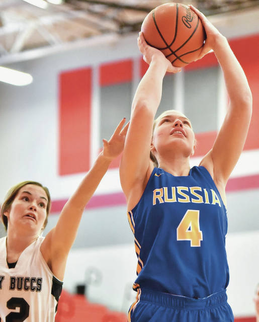 Russia's Laurissa Poling shoots during the District Nine Division IV girls all-star game on Thursday at Troy's Trojan Activities Center.