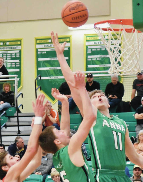 Anna's Justin Murray shoots during a Division III sectional final against Preble Shawnee on Saturday at Northmont's Thunderdome.
