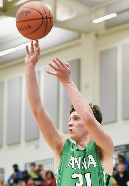 Anna's Carter Elliott shoots against Stiver during a Division III regional semifinal on Wednesday at Trent Arena in Kettering. Elliott scored 19 points, 15 of which came on five 3-pointers. He also had seven rebounds.