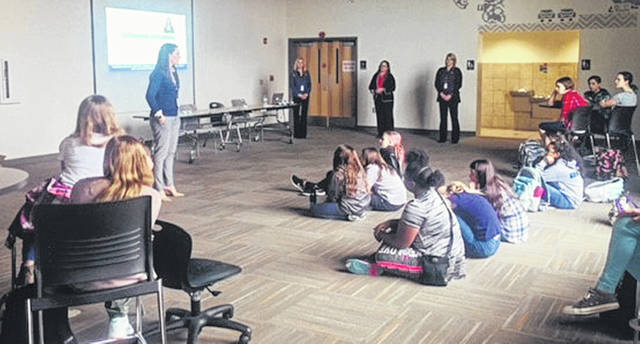 Tracy Reiter, vice president and chief information officer of Emerson, speaks to Dayton Regional STEM School students, recently.