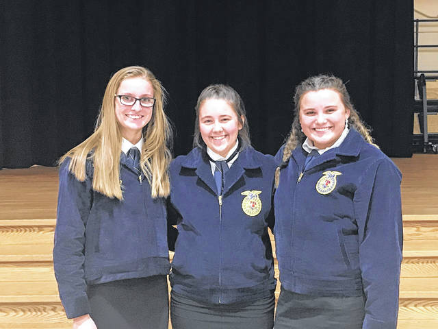 The Sidney FFA competed at the District Job interview Contest. Participants included, left to right, Makali Gibson, Allie Herrick, Autumne Johnson. These individuals worked hard to prepare resumes, cover letters, follow up letters and practice their interviewing skills.