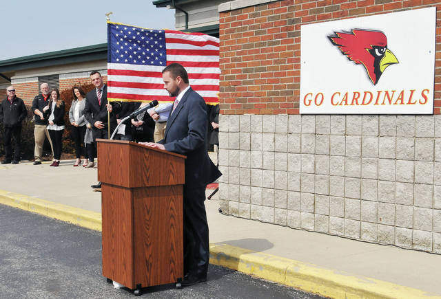 New Bremen Local School District Superintendent Jason Schrader speaks during the ground breaking ceremony for a New Bremen Elementary School next to the current New Bremen High School Thursday, March 28.