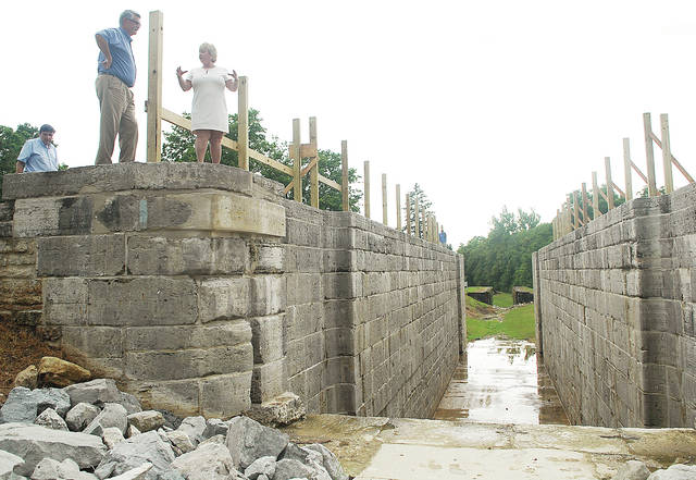 Lock One in Lockington during a ceremony celebrating the 2014 renovation of the structure. The lock is one of two Shelby County landmarks included in the Society of Architectural Historians' Archipedia.