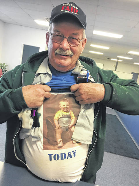 Jerry Schaffner, in a Shelby County Fair hat and a Best One tire jacket, shows his playful side. He passed away after following complications of surgery, Monday, March 11.