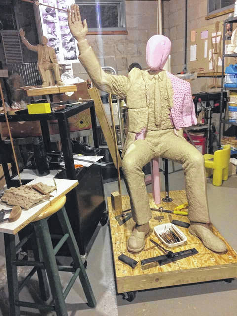 Westerville-based sculptor Michael Tizzano will visit Auglaize County's Riverside Art Center, W. Auglaize St., in historic downtown Wapakoneta, from 5 to 7:30 p.m., on March 20. Tizzano is creating a sculpture of Neil Armstrong that will be installed in Wapakoneta's downtown parkway this summer in commemoration of the 50th anniversary of the Apollo 11 Moon Landing. The event is free and open to the public. Riverside will offer the chance for two persons to win a visit to the foundry in early April to drop off Neil. In addition to the art center visit, Tizzano will present assemblies at Wapakoneta Middle School during the day, Wednesday.