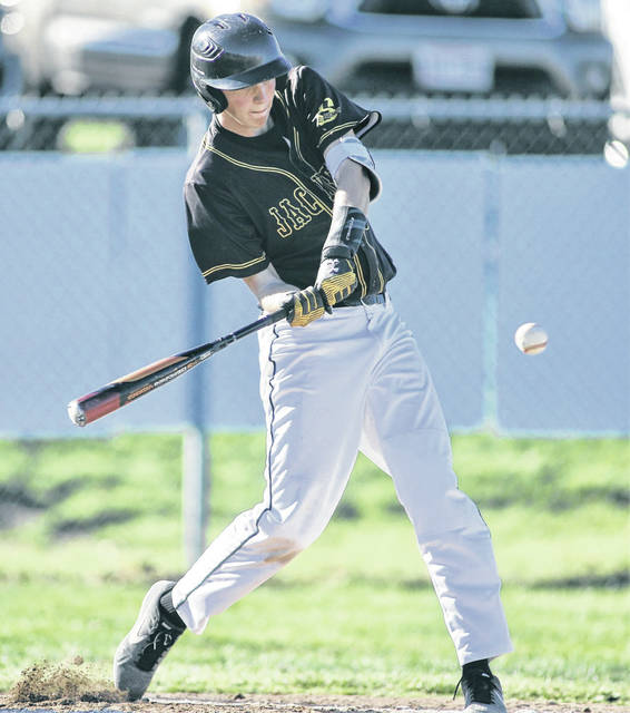 Sidney's Ben Spangler swings at a pitch during a Greater Western Ohio Conference American North Division game on Tuesday in Troy.