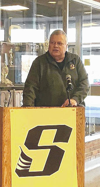 Longtime Sidney City Schools supporter Dave Ross was one of the speakers at Monday's dedication of the air conditioning project for the high school auditorium and music wing.