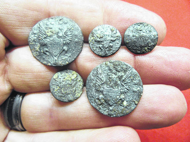 Frog-leg buttons are among objects found in an archaeological dig near Fort Loramie. They will be on display with other finds, Sunday, April 28, in Fort Loramie Elementary School.