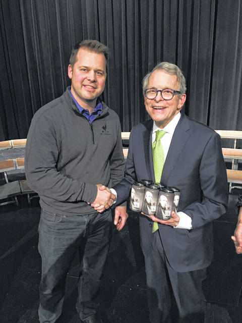 Moeller Brew Barn Brewmaster Nick Moeller recently presented Shelby 1819 Limited to Governor Mike DeWine.