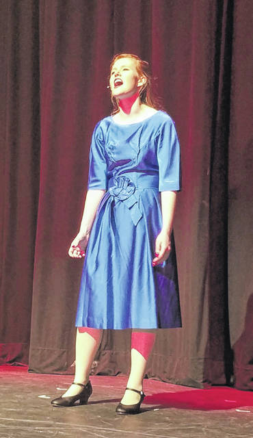 "Fairlawn High School senior Cassie McKnight rehearses a song her character, Ellie Greenwich, sings during ""Leader of the Pack: The Ellie Greenwich Musical."""