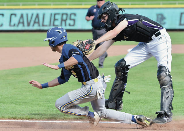 Lehman Catholic's Bradly Haynes is run down by Dayton Christian's Sam Jackson as Haynes attempted to run back to third base during a nonconference game on Monday at Fifth Third Field in Dayton.