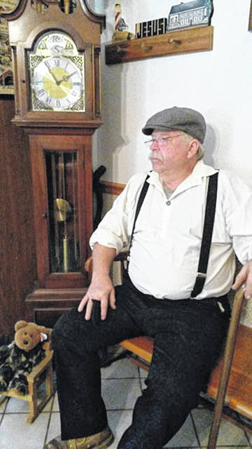 Rex Maggert, of West Milton, portrays Marion S. Hoover. He will present a program Tuesday, April 9, in the Amos Memorial Public Library.