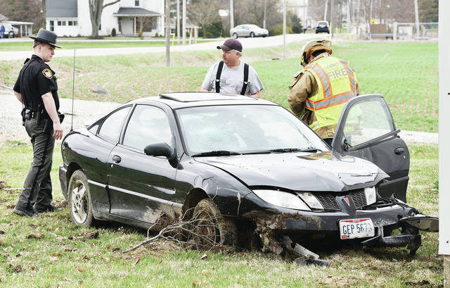 A lone car sits in the ditch of Hardin-Wapakoneta Road near its intersection with Greenville Road just south of Hardin. Upon arrival, Shelby County Sheriff's Deputies found the vehicle, owned by Heather Lee Hendrickson, of 3856 Hardin-Wapakoneta Road, with front end damage and a smashed windshield. The driver, Hendrickson, had left the scene. The Lockington Fire Department and Houston Rescue also responded. The accident occurred around 6:10 p.m., Sunday, April 7.