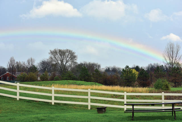 The rainbow after the storm as viewed from Wapakoneta Road on Sunday, April 14.