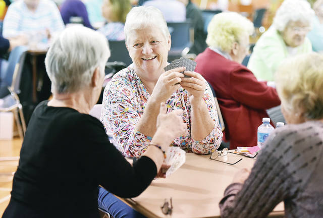 Playing Euchre at the Sidney-Shelby County Senior Center are, left to right, Becky Rankin, Kathy Bray and Carol Leiss, all of Sidney. The Senior Center held a large card playing event Wednesday, April 24.