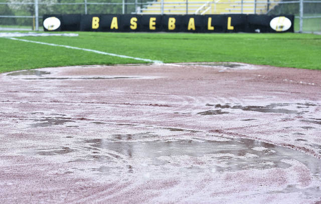 Puddles cover Sidney High School's baseball diamond on Thursday. All area games were postponed or canceled due to rains that moved through the area.