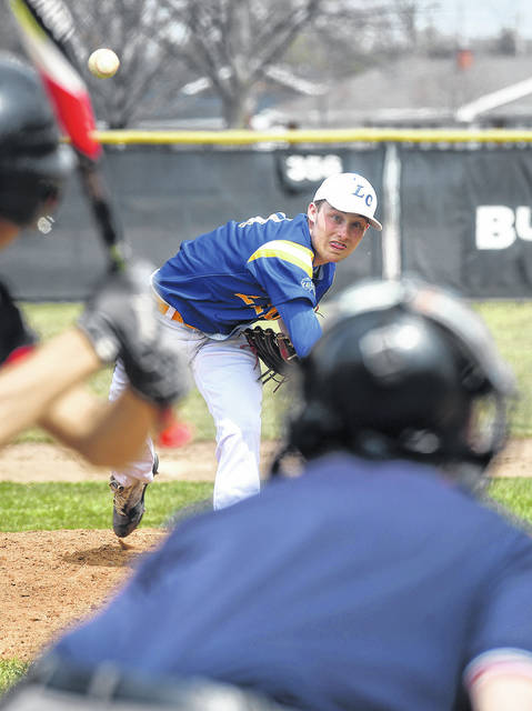 Lehman Catholic pitcher Drew Barhorst fires a strike during a nonconference game on Saturday in Covington.