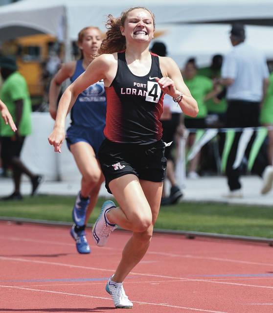 Fort Loramie's Kennedi Gephart runs in the girls Division III 200 meter dash during the state track and field meet on Friday at Jesse Owens Memorial Stadium in Columbus.