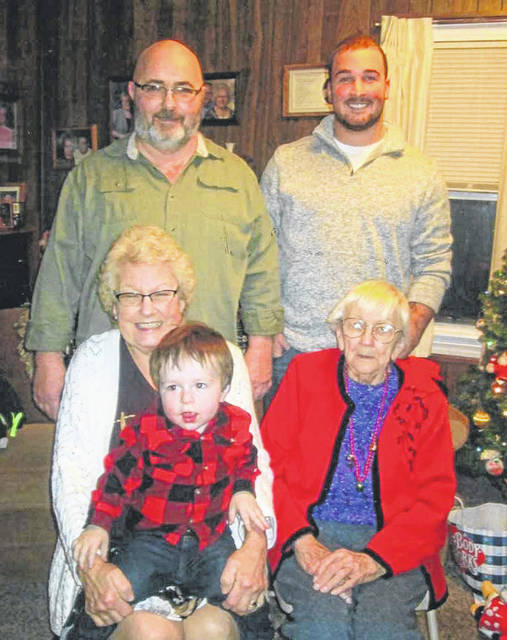 Five generations of the Lewis family posed together for a picture. They are, back row left to right, grandfather Ray William Lewis Jr. and his son Bradley Lewis, both of Sidney. Bradley's son, Brody Lewis, 2, is being held by great-grandmother Connie Kay Lewis, of Sidney, who is sitting next to great-great-grandmother Marjoie Brackney.
