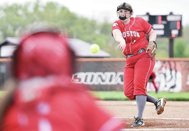 Houston's Emilee Foster pitches during a Division IV sectional final on Friday in Ansonia.