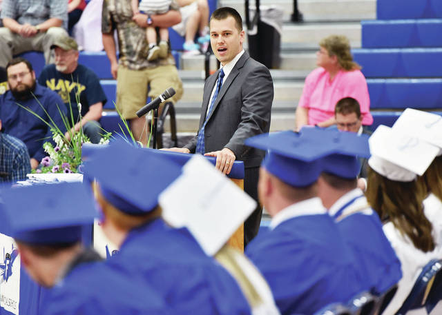 D.J. Heintz speaks to the Fairlawn class of 2019 as the guest speaker during the Fairlawn commencement Friday, May 17.