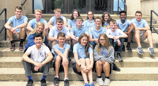 Members of the Holy Angels eighth-grade class are bottom row, left to right, Jude Schmiesing, Samuel LaForme, Kaitlyn Fortkamp and Azrael Hill; middle row, Genevieve O'Leary, Kia Reese, Jacob Hawrot, Elijah Holthau and David Brunner; and top row, Brandon Jones, Dylan Geise, Justin Chapman, Lucille Ritze, Kailey Higgins, Tori Lachey, Abraham Schmiesing and Nathan Sollmann.