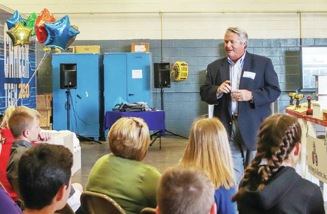 """CEO Chairman of Board for Ferguson Construction Mick Given speaks with the students during the """"Skilled Trades Ninja Challenge"""" at the Upper Valley Career Center in Piqua Tuesday, May 7."""