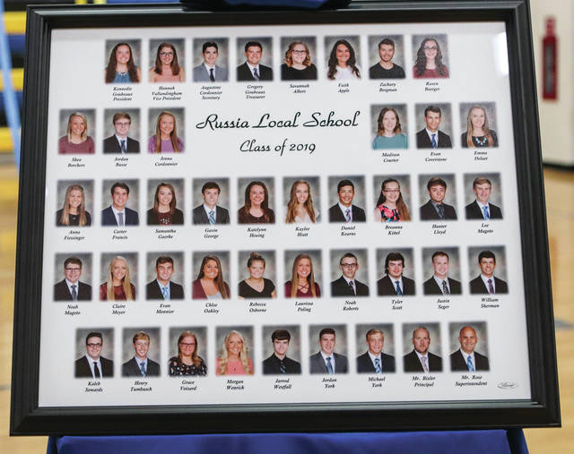 A framed photo of all the Russia seniors.