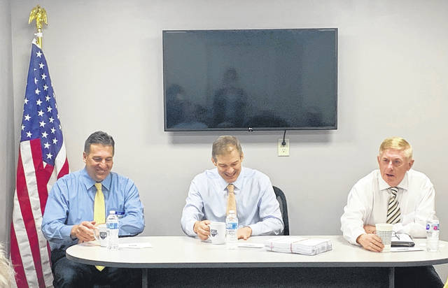 Rep. Jim Jordan, center, spoke to New Knoxville business leaders at the corporate headquarters of Fleet Safety Services, LLC.