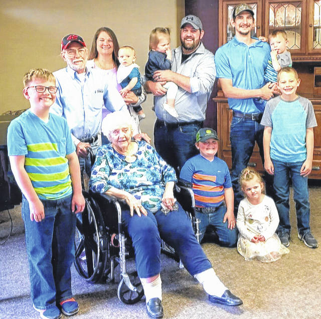 Five generations of the Cotrell and Luthman families recently posed for a photo. They are, front row, left to right, Wes Luthman, son of Alan Luthman, of Minster, great-great-grandmother Erma Cotrell, of Sidney, Eli Luthman and Karli Luthman, children of Alan Luthman, and Jayden Luthman, son of Nathan Luthman, of Fort Loramie. Back row, from left, great-grandfather Calvin Cotrell, of Fort Loramie, grandmother Dawn Luthman, of Russia, holding Wyatt Luthman, son of Nathan Luthman, father Alan Luthman holding his daughter, Abby, and father Nathan Luthman holding his son, Grant.