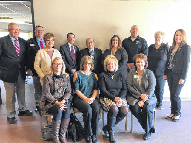 Pictured are grant recipients and board members. This includes, front row, from left to right, Sharon Green, Council on Aging; Patty Thees, Choosing Life Pregnancy Center; Linda Haines, JTD Hospital Foundation; and Deb Hemmelgarn, MED Foundation; and, back row, Mauri Cron, Mercer Co. Civic Foundation Board President; Jeff Redfield, American Red Cross; Barb Hamilton, Mercer Co. Civic Foundation Board Member, Mendon; Rick Ramsey, MHCF Board member; John Irmscher, MHCF Board Member; Jenn Whitaker, Private Duty Services – Adult Day Care; Kyle Gerlach, Mercer Co. EMS; Marge Gehle, Cancer Association of Mercer County; and Elizabeth Muether, Mercer Co. Civic Foundation Board Member, Celina.