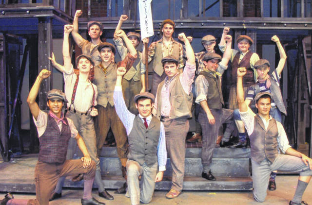"""The cast of """"Newsies"""" ends a musical number at La Comedia Dinner Theatre in Springboro."""