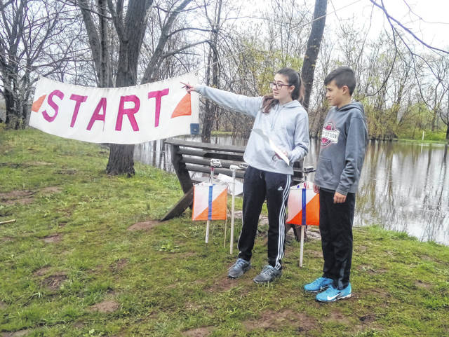 Sophie and John Ratermann are pictured at the Forrest Run Orienteering meet and awards ceremony in Hamilton on April 20, 2019.