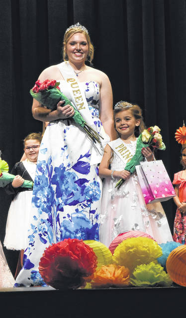 Riley Jackson, left, was crowned 2019 Jackson Center Community Days queen, and Camdyn Osysko, 6, right, was crowned 2019 Little Miss Jackson Center queen during ceremonies Thursday.