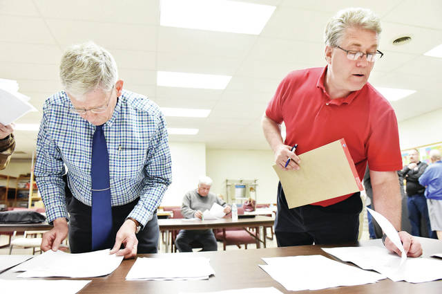 Municipal Court Judge candidates Gary Carter, left, and Steve Geise look at poling results as they come in at the Shelby County Board of Elections Tuesday, May 7.