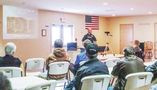 Sidney Police Department community resource officer Bryce Stewart speaks during an Active Shooter Response Seminar organized by the Shelby County Liberty Group at the United Calvary Church Saturday, May 11.