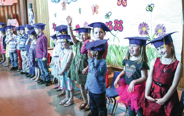 Students line-up during the Sidney Cooperative Nursery School graduation ceremony Tuesday, May 14.