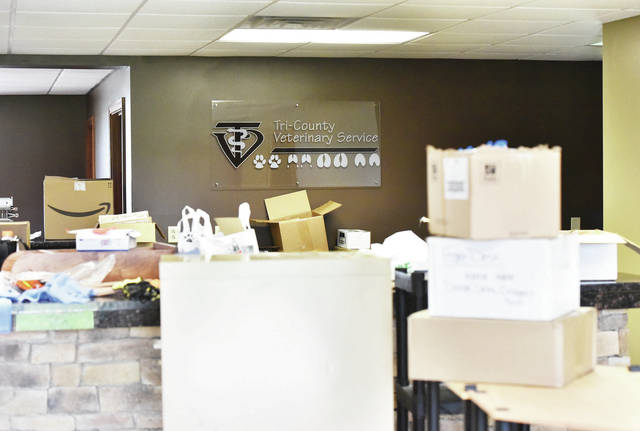 The new location for Tri-County Veterinary Service at 3714 State Route 47 near Hardin Friday, May 17, was filled with boxes as employees moved stuff from its old location.
