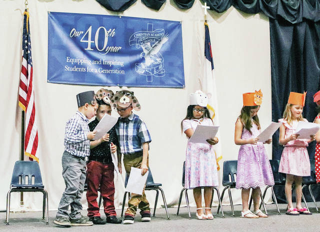 "Christian Academy students perform the ""Little Red Hen"" Tuesday, May 28."
