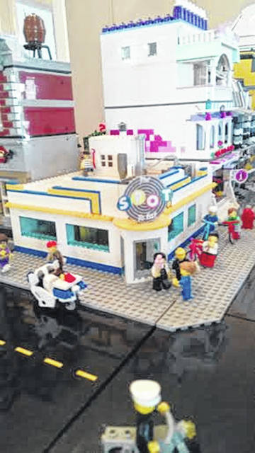 The Spot Restaurant was one of the businesses designed with LEGOs during a previous LEGO display.