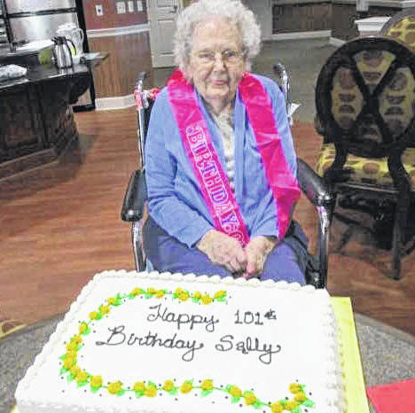 "Elmwood of New Bremen resident Rosella ""Sally"" Thieman celebrates her 101st birthday at a party thrown at the facility recently."