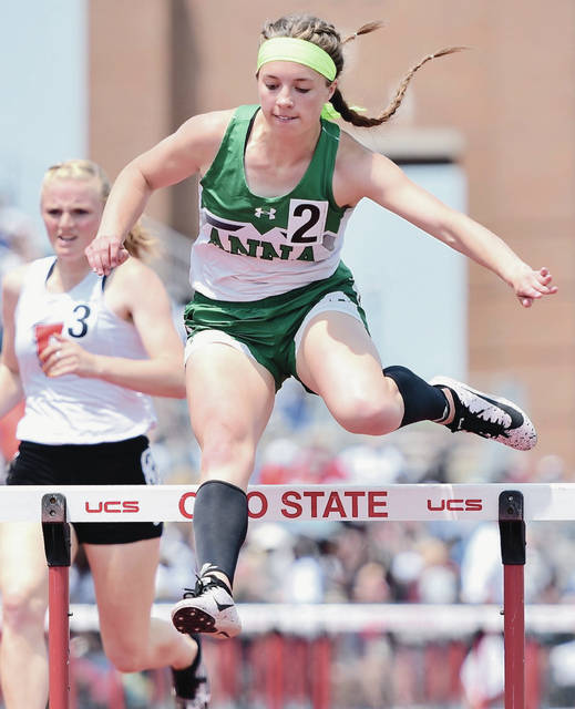 Anna's Hannah Shoemaker competes in the Division II girls 300-meter hurdles during the state track and field meet on Saturday at Jesse Owens Stadium in Columbus. Shoemaker finished fourth in 43.57, which is a new school record.