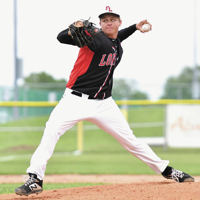 Fort Loramie senior Jared Middendorf throws a pitch during a Division IV district semifinal against Russia on May 20 in Sidney. Middendorf, who will play collegiately at Huntington University, was named the SCAL's baseball player of the year.