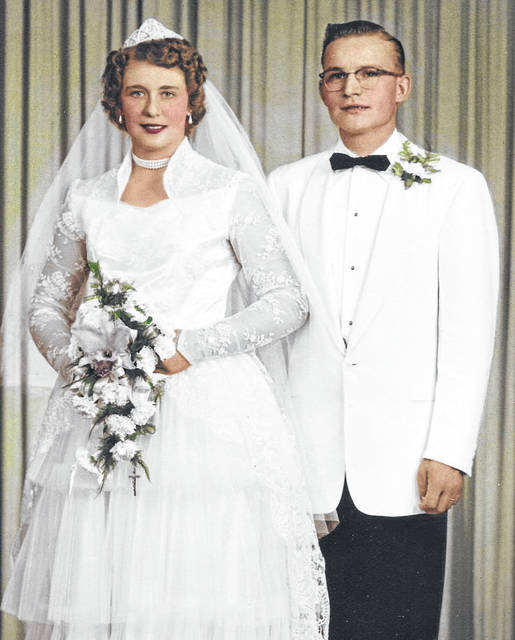Mr. and Mrs. Barhorst on their wedding day on July 24, 1954.