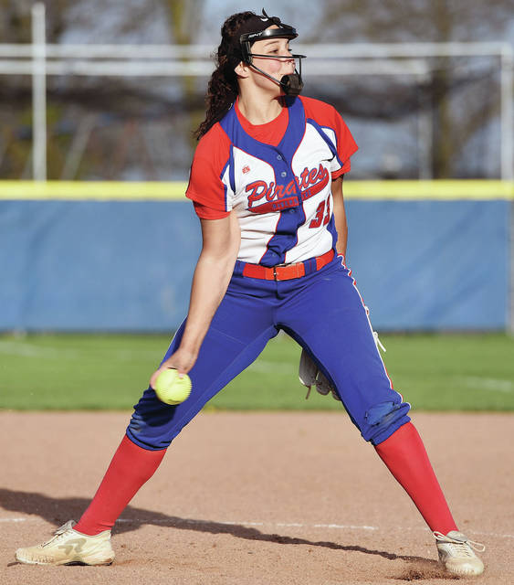 Riverside sophomore Jalynn Stanley pitches during a nonconference game against Russia on April 23. Stanley is one of three area players who were recently named all-Ohio in Division IV by the OHSFCA.
