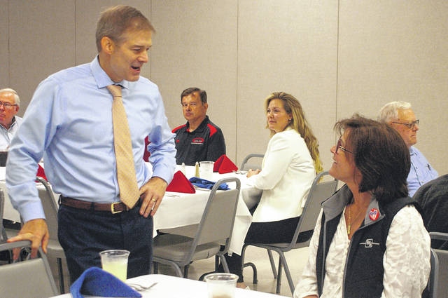 Rep. Jim Jordan talks to attendees at a Miami-Shelby Manufacturing Council event on Thursday at Shelby Oaks Golf Club.