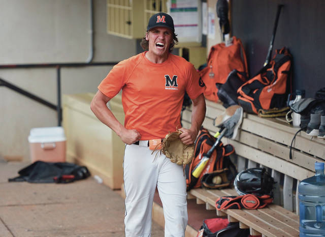 Minster junior pitcher Austin Brown reacts after striking out three Hillsdale batters in a row during a Division IV state semifinal on Friday at Canal Park in Akron.