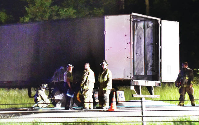 Firefighters put out a semitrailer fire on the southbound lanes of Interstate 75 at mile marker 101, just north of the Anna exit, Thursday, May 30. Anna and Botkins Fire Departments responded to the crash at 9:15 p.m. Ohio Highway State Patrol, Anna Police and Botkins Police also responded to the scene.